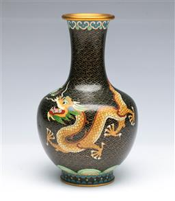 Sale 9093P - Lot 16 - Chinese Black Cloisonne Vase with Imperial Dragon, h. 21cm.