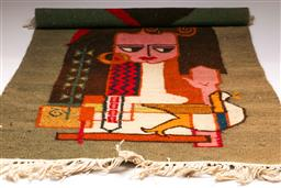 Sale 9131 - Lot 25 - Mid century design wall hanging depicting woman and bird (130cm x 81cm)