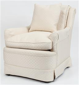 Sale 9099 - Lot 111 - A set of three armchairs upholstered in cream brocade, Height of back 86cm x Width 72cm
