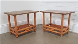 Sale 9174 - Lot 1096 - Pair of bamboo side tables (h:41 x w:61 x d:36cm0