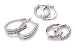 Sale 9194 - Lot 397 - THREE PAIRS OF SILVER HOOP EARRINGS; patterned pair, length 12mm, pair pave set with round cut zircons, length 12mm, and pair channe...