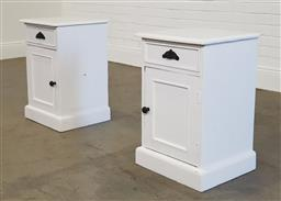 Sale 9218 - Lot 1095 - Pair of painted timber single door & drawer bedside cabinets (h56 x w42 x d40cm)