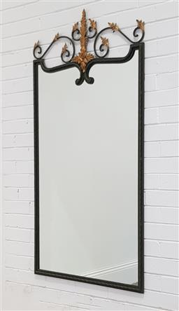 Sale 9255 - Lot 1311 - Wrought iron wall mount glass top console (h60 x w138 x d30cm) &  matching mirror (h156 x w80cm)