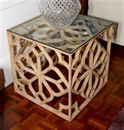 Sale 8098A - Lot 74 - Low Pierced Timber cube Table with Geometric design and glass top.