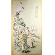 Sale 8244 - Lot 85 - Shen Xinhai Signed Watercolour Scroll of Immortal Figures