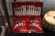 Sale 8360 - Lot 163 - Sheffield Silver Plate Canteen of Cutlery (missing serving spoon)