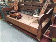 Sale 8455 - Lot 1022 - Carved Timber Daybed