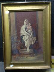 Sale 8622 - Lot 2016 - Artist Unknown (C20th) - Maesta, oil on cardboard, 50 x 37cm, unsigned -