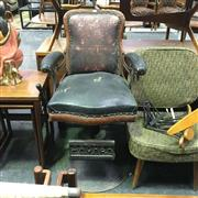 Sale 8648 - Lot 1002 - Vintage Shaving Chair on Cast Iron Base Marked Archer, Rochester, NY, USA