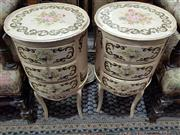 Sale 8740 - Lot 1168 - Pair of Italian Style Cylinder Bedsides with Three Drawers