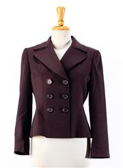 Sale 8891F - Lot 36 - A Tahari Petite Arthur S. Levine purple-brown double breasted wool-blend box jacket, size 6P