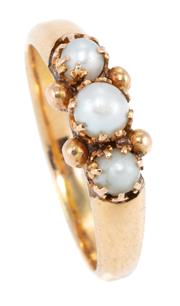 Sale 8937 - Lot 351 - A VINTAGE 18CT GOLD PEARL RING; set with 3 small  cultured pearls with gold bead highlights, size L1/2, wt. 3.04g.
