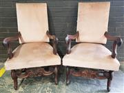 Sale 8971 - Lot 1013 - Pair of Oversized Upholstered Carvers (H:110 x W:65 x D:55cm)