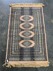 Sale 9043 - Lot 1032 - Pink and Blue Tone Prayer Matt with surrounding border and central medallion (L115 x W69cm)