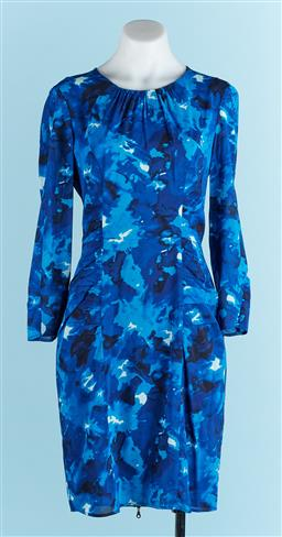 Sale 9091F - Lot 40 - A WHISTLES LONG SLEEVE ALINE DRESS; In blue with full length zip to back, size S