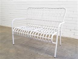 Sale 9102 - Lot 1255 - Metal and cane outdoor two seater (h90 x w110 x d62cm)