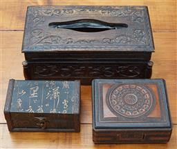Sale 9103M - Lot 568 - A group of three timber cases including a carved tissue case, Height 11.5cm x Width 29cm x Depth 16cm, and two other lift top contai...
