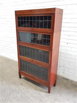 Sale 9126 - Lot 1096 - Early 20th Century American Globe-Wernicke Fruitwood Stacking Legal Bookcase, of four tiers with leadlight glass panel doors, raised...