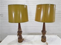 Sale 9162 - Lot 1007 - Pair of 1970s painted timber table lamps, of baluster form, with mustard coloured shades (h:84cm)