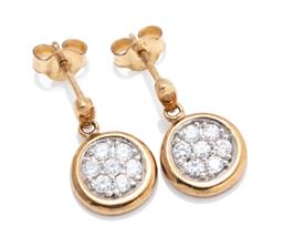 Sale 9253J - Lot 429 - A PAIR OF 9CT GOLD STONE SET EARRINGS; 9.8mm wide discs set with clusters of round cut zirconias to stud fittings, length 15mm, wt....