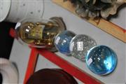 Sale 8024 - Lot 98 - German Dome Clock and 3 Art Glass Paper Weights