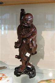 Sale 8098 - Lot 86 - Chinese Timber Carved Figure Lohan Figure