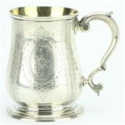 Sale 8264 - Lot 26 - English Hallmarked Sterling Silver George II Tankard