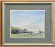 Sale 8363 - Lot 596 - Henry Edgecombe (1881 - 1954) - Cattles Grazing Near Glenrock Lagoon, South Coast 25 x 32cm