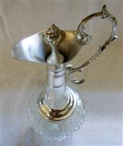 Sale 8312A - Lot 33 - A vintage French diamond cut glass and silver plate wine ewer, 29 cm tall