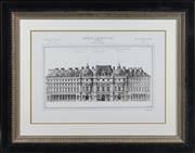 Sale 8342A - Lot 80 - French Architectural study, Un Hotel Garni sur un Terrain Irreulier, in black and gilt frame, 64 x 82cm inc. framing