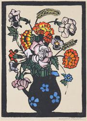 Sale 8389 - Lot 558 - Margaret Preston (1875 - 1963) - Flowers in Jug, c1929 28 x 20.5cm