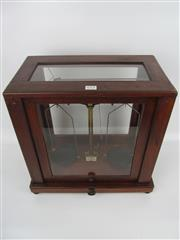 Sale 8431A - Lot 673 - Early W. & J. George & Becker (London) Quality Brass Laboratory Beam Balance enclosed in a Glass & Wood Case