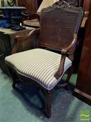 Sale 8539 - Lot 1056 - Louis XV Style Carved Mahogany Armchair, with double caned back & striped upholstered seat, on cabriole legs with stretcher base