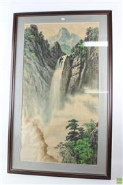 Sale 8563 - Lot 92 - Chinese Water Colour Landscape with Inscription ( Some Water Damage)