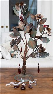 Sale 8694A - Lot 48 - A copper sculpture of a flowering bush together with a quantity of red glass tear drop beads