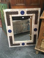 Sale 8740 - Lot 1447 - Collection of 3 Timber Framed Mirrors with Ceramic Inserts