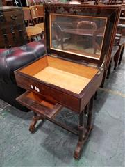 Sale 8792 - Lot 1040 - Mid 19th Century French Rosewood Work Table, with hinged top, small sliding basket, on double turned supports & stretchers