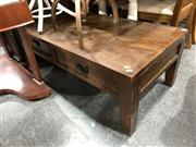 Sale 8854 - Lot 1073 - Brown Oak Coffee Table with Two Drawers