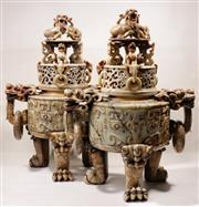 Sale 9044 - Lot 10 - Pair of Large Intricately Carved Soap Stone Chinese Censers With Lion Ring Handles And Finials (H: 84cm W:60cm D:38cm)