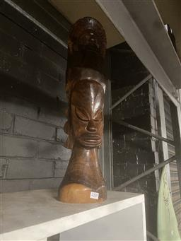 Sale 9102 - Lot 1093 - Timber statue together with another example (h62cm)