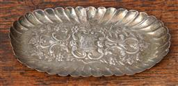 Sale 9120H - Lot 102 - A sterling silver embossed scalloped pin dish with monogram to centre, Weight 81g, Length 15.5cm, hallmark rubbed