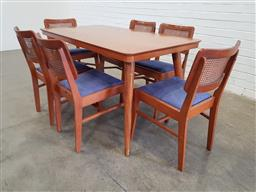 Sale 9171 - Lot 1043 - Vintage timber dining table (h74 x w135 x d76cm) & 6 rattan back dining chairs (h:80cm) some losses to rattan