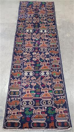 Sale 9188 - Lot 1444 - Persian hand knotted pure wool Baluchi runner in navy blue tones (283 x 87cm)