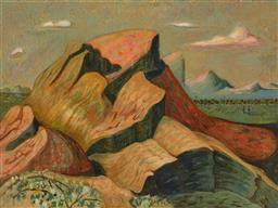 Sale 9244 - Lot 573 - JACQUELINE BALASSA Rock Formations, Grampians, 1996 oil on canvas 91.5 x 121.5 cm (frame: 99 x 129 x 4 cm) signed and dated verso