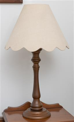Sale 9260M - Lot 81 - A pair of timber table lamps with scalloped shades H 49cm