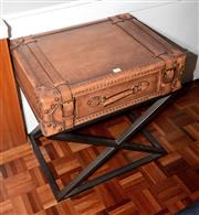 Sale 8098A - Lot 84 - Single Drawer Suitcase Table On Metal Base