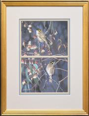 Sale 8257A - Lot 32 - James Luck (XX) (2 works) - Red Rumped Parrots & Yellow Faced Honeyeaters, 1993 9.5 x 14.5cm & 38 x 25cm