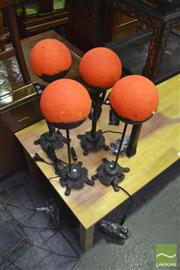 Sale 8251 - Lot 1032 - Set of Four Glass Ball Shade Table Lamps