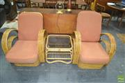 Sale 8275 - Lot 1015 - Cane Three Piece Suite incl. Glass Top Side Table & Pair of Armchairs