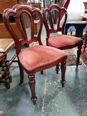Sale 8562 - Lot 1017 - Set of Four Balloon Back Dining Chairs with Fabric Upholstered Seats